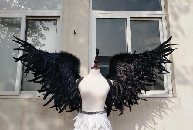 b9b51ff8008 Fashion Black angel wings Devil wings props catwalk show props festival  Angel Feather wings Window props EMS free shipping