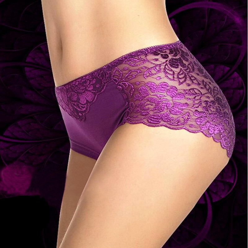 Women Underwear Sexy Panties Lace Woman Crotchless Culotte Femme Knickers Antibacterial Fiber Soft Briefs