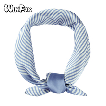 Winfox 2019 New Fashion 60cm*60cm Black Blue Striped Square Bandana  Scarf Neckwear Headwear Handkerchief For Womens Ladies