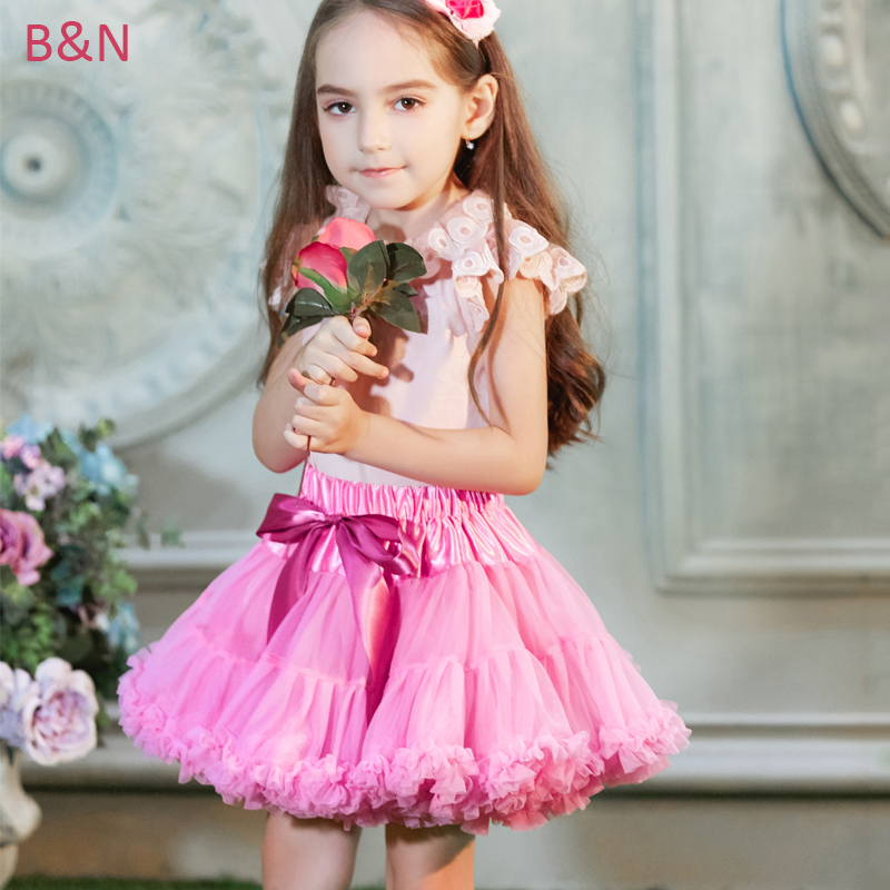 Buenos Ninos Girls Tutu Skirt Fluffy Warna Solid Dance Wear Chiffon Pettiskirt Selama 1-10 Tahun