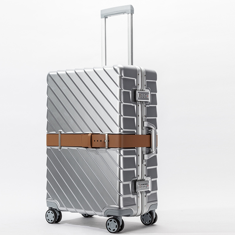 202428 Carro Vintage Aluminum Luggage Maletas Rolling Hardside Cabin Koffer Travel Case Trolley Suitcase With Wheels