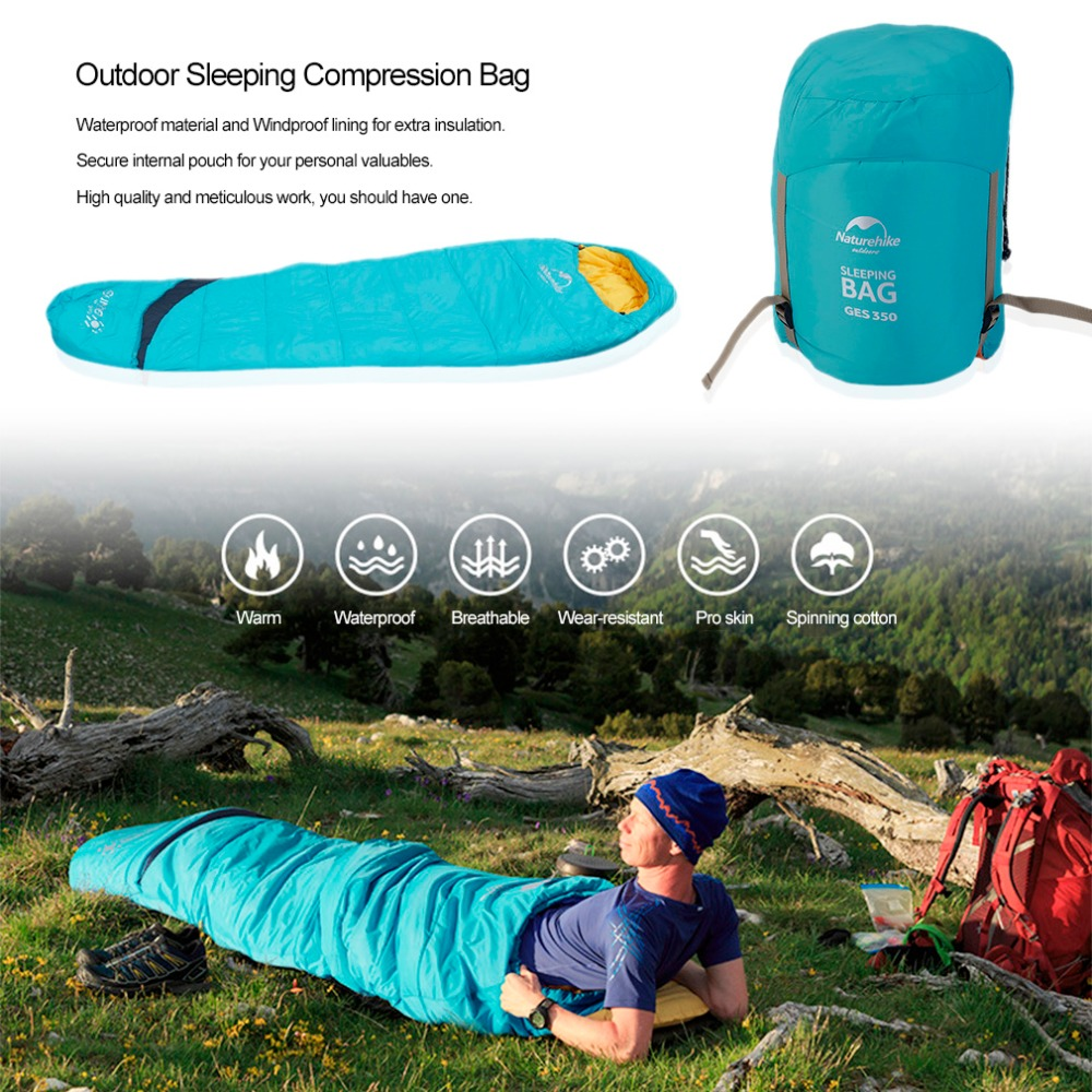 Outdoor Sleeping Compression Bag Mummy Type Thermal Warm Adult Single Winter Camping Waterproof Professional Solid Carry Bag New nh sleeping bag adult outdoor winter thermal winter thickening thermal autumn and winter cotton sleeping bags single double