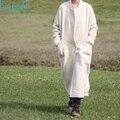 Белье одежда женская зима бежевый цвет льна и шерсти, квадратный воротник длинное пальто шерсть верхняя одежда