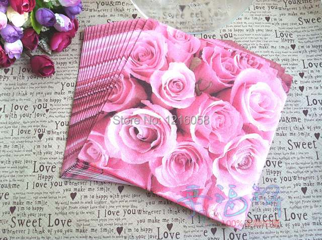 Pink rose wedding napkin color printing paper napkins towels fashion pink rose wedding napkin color printing paper napkins towels fashion tissues tea birthday party napkins mightylinksfo