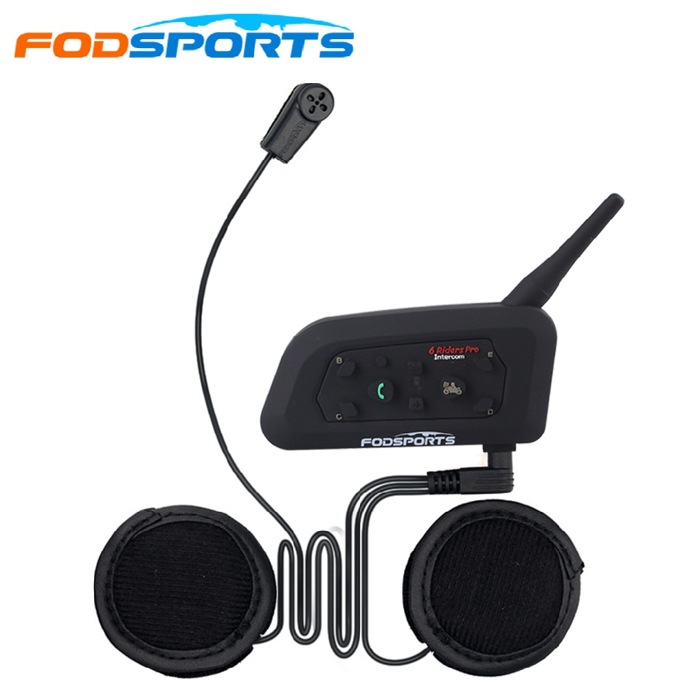 1 Pcs V6 Pro Intercom BT Interphone Wireless Motorcycle Helmet Bluetooth Intercom 1200M Moto Helmet Headset For 6 Riders