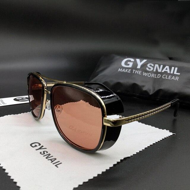 Gysnail Тони Старк Железный квадратный Солнцезащитные очки для женщин Для мужчин брендовые дизайнерские зеркало мужской Защита от солнца Очки Винтаж Солнцезащитные очки для женщин Винтаж Óculos де золь УФ