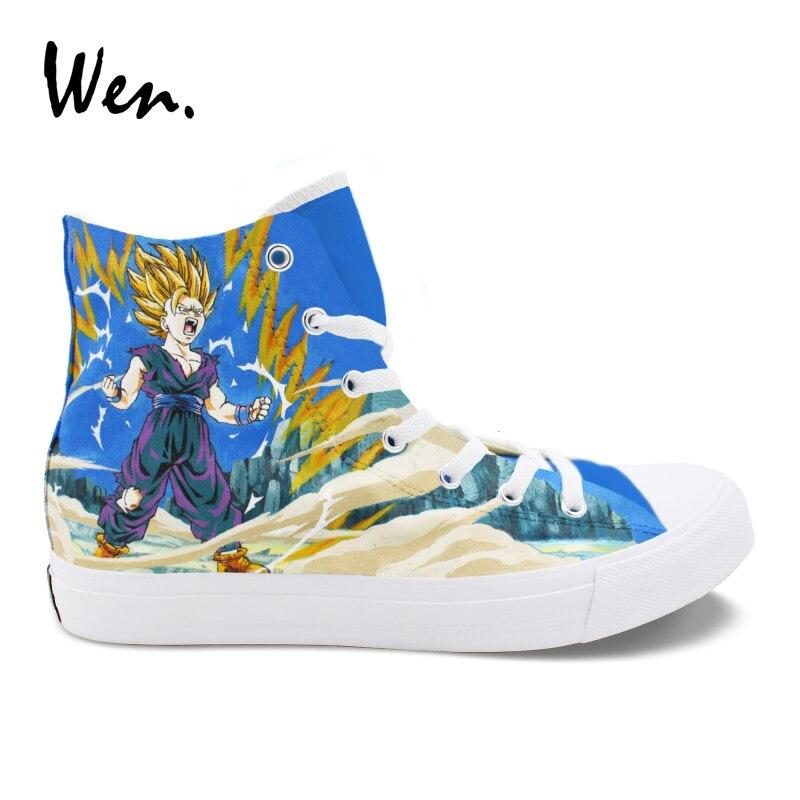 Wen Custom Canvas Shoes Dragon Ball Super Saiyan Son Goku Hand Painted Shoes Sneakers Men Women High Top Espadrilles Flat Loafer wen anime hand painted shoes design dragon ball son goku super saiyan high top male skateboard sneakers boy shoes canvas