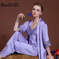 Autumn Women Satin Sleepwear Female Silk Pajama Sets Ladies Pyjamas Lace Patchwork Casual Women Home Clothing