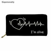 0ab03d472 Nopersonality Wallet Women Heartbeat Printing Female Coin Purse Large  Capacity Phone Bag Card Holder Women Daily. Carteira Mulheres ...