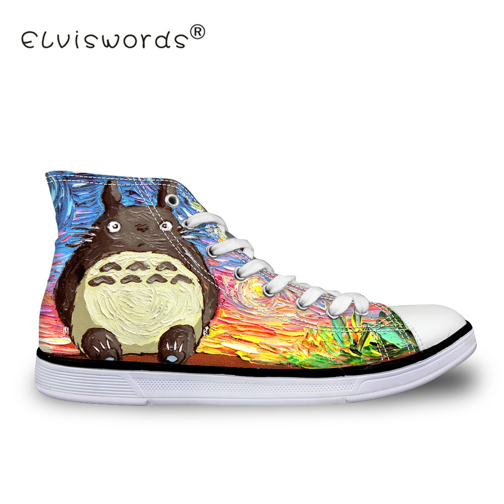 ELVISWORDS Casual Women Sneakers 3D Totoro Print Cartoon Brand Women High Top Vulcanized Shoes for Female Flats Canvas Shoes