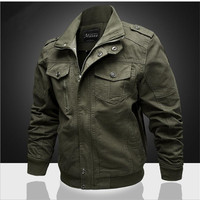 Military Bomber jacket Spring autumn men Solid color Cotton coat mens Plus size Army jacket Male Air Force One outerwear M 6XL
