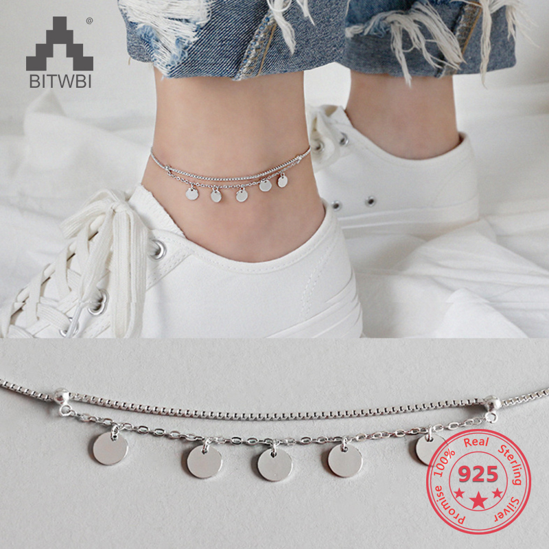 100% 925 Sterling Silver Anklet Multi Layer Circle Box Chain Ankelts For Women Fashion Girl Foot Bracelet Stering-silver-jewelry