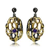 Trendy women Earrings black and gold color with purple Cubic zircon drop Earrings fashion jewelry free shipment