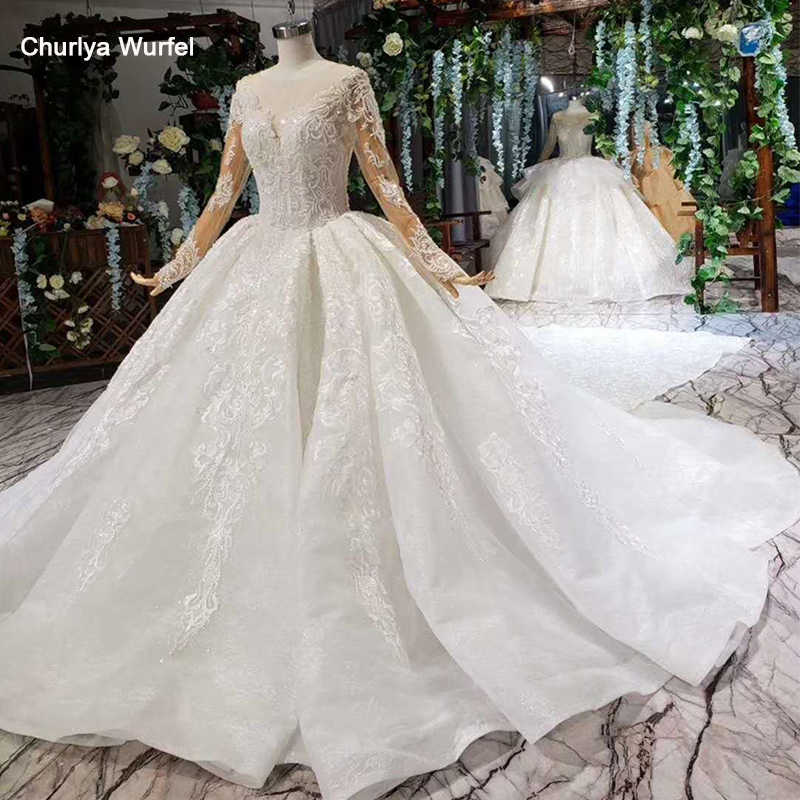 HTL372G detachable train Wedding Dress with wedding veil o neck long bridal dress gown free shipping vestido de noiva princesa
