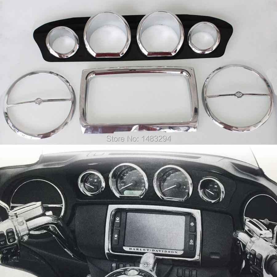 Chrome Inner Fairing Trim Kit Gauge Trim Kit Radio Trim Bezel Kit Fits For Harley Touring