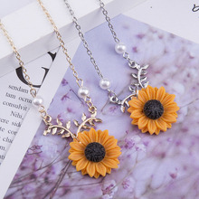 цена на Delicate Sunflower Jewelry Gold Chain Pendant Necklace for Women Creative Imitation Pearl Necklace Daily Accessories Long Choker