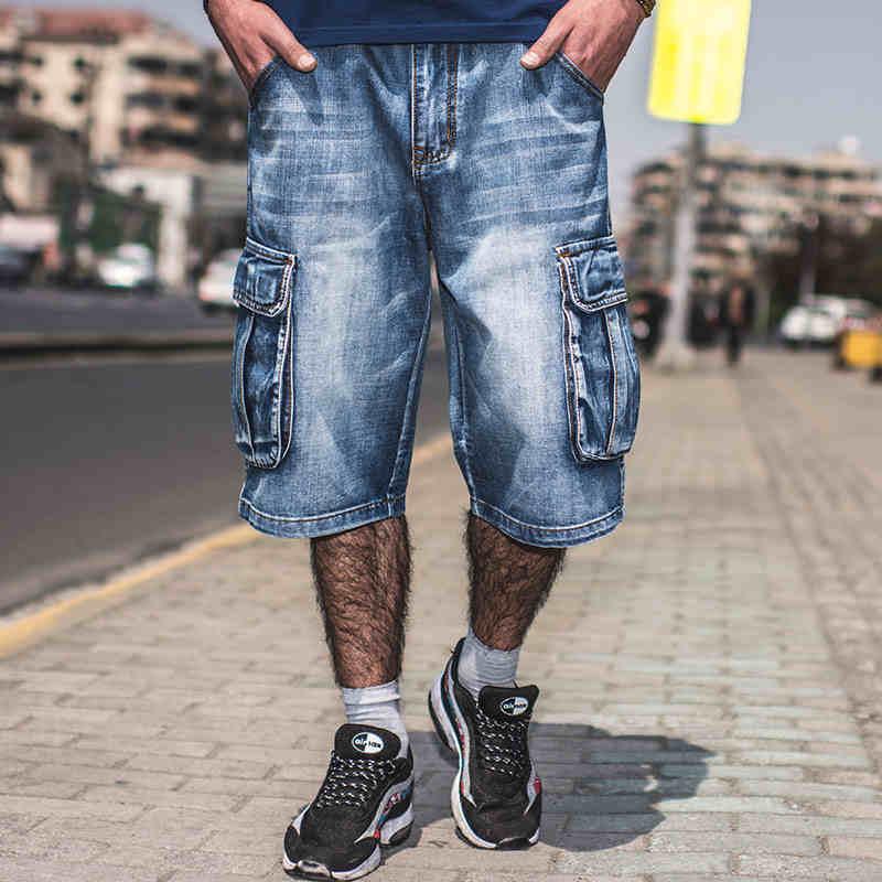 Mens Hip Hop Cargo Shorts Denim Knee Length Big Men Loose Straight Baggy Jeans Shorts Multi Pockets Design Plus Size 40 42 44 46