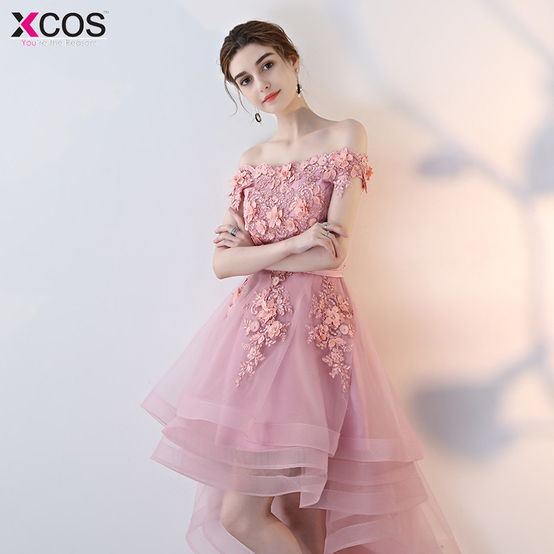 2018   Cocktail     Dresses   Burgundy Pink Flower High Low Robe De Vestidos De Coctel Evening Party   Dress   For Graduation