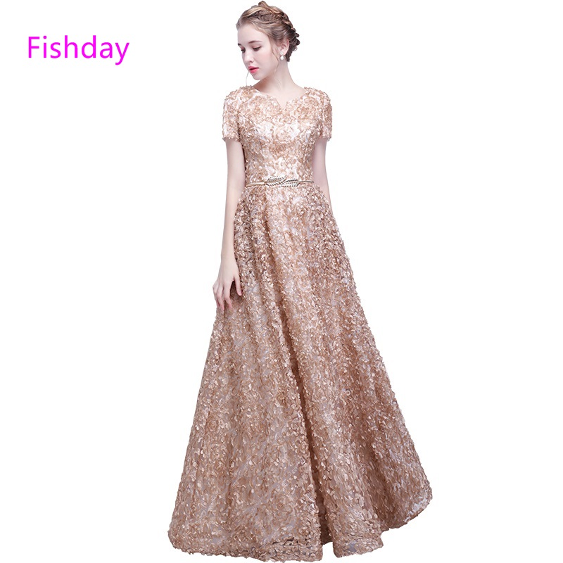 Fishday Evening Dress Floor Length Champagne Color Sleeved A Line