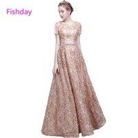 Fishday Evening Dress Floor Length Champagne Color Sleeved A line Long Plus Size vestido de festa Mother of the Bride B30