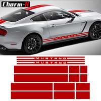 Side Door Rocker Panel Stripes Front Rear Hood Roof Trunk Graphic Decal Set Stickers for Ford Mustang 2015 2017, 9 colors