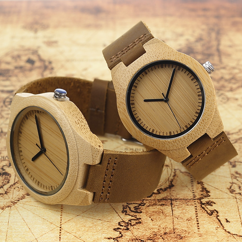 BOBO BIRD men Watches women Wooden Bamboo Watch ladies  Quartz lover's clock with Leather Strap as Gift  in wood box custom xiniu retro wood grain leather quartz watch women men dress wristwatches unisex clock retro relogios femininos chriamas gift 01