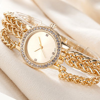 Women Luxury Triple Strap Bracelet Watch Vintage High Quality Rose Gold Silver Crystal Clock For Ladies