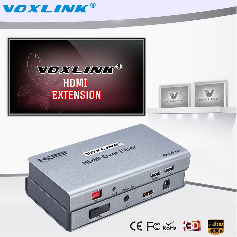 VOXLINK HD 1080P HDMI Extender Over Fiber up to 20km Audio Video Transmission Support multipoint to Multipoint With IR for HDTV