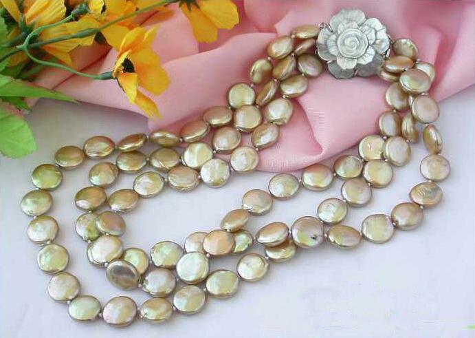 Collier de perles d'eau douce, AAA 3 rangées 12-14mm bijoux de perles de culture Champagne, fleur de coquille, nouvelle livraison gratuite.