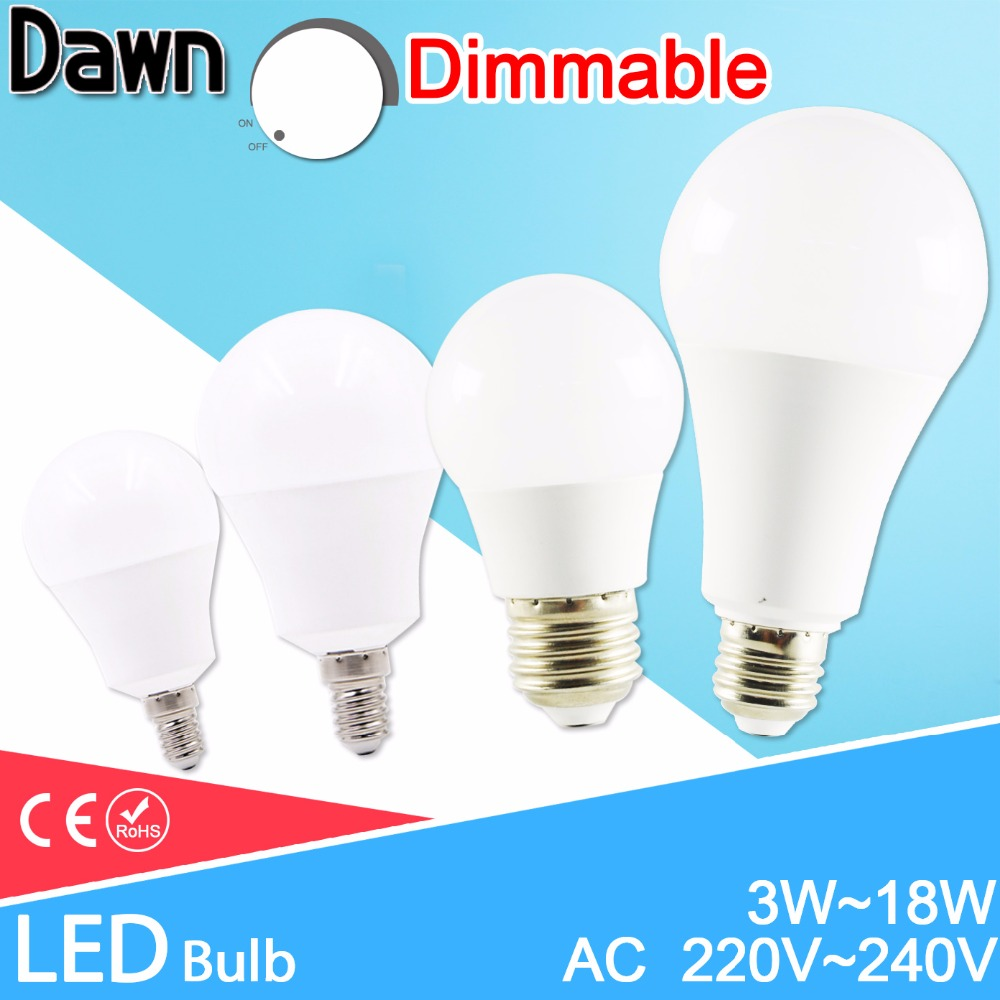 <font><b>LED</b></font> <font><b>lamp</b></font> Dimmable <font><b>led</b></font> bulb E27 <font><b>E14</b></font> AC 220V 240V Smart IC Real Power lampada <font><b>led</b></font> 20W 18W 15W 12W 9W 6W 3W <font><b>LED</b></font> Bombilla Ampoule image