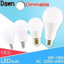 LED lamp Dimmable led bulb E27 E14 AC 220V 240V Smart IC Real Power lampada led 20W 18W 15W 12W 9W 6W 3W LED Bombilla Ampoule