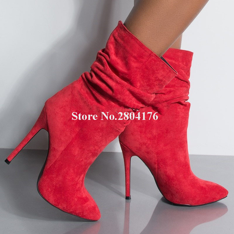 Women Simple Style Pointed Toe Suede Leather Thin Heel Short Boots Red Black Flock Slip-on High Heel Ankle Booties Club ShoesWomen Simple Style Pointed Toe Suede Leather Thin Heel Short Boots Red Black Flock Slip-on High Heel Ankle Booties Club Shoes