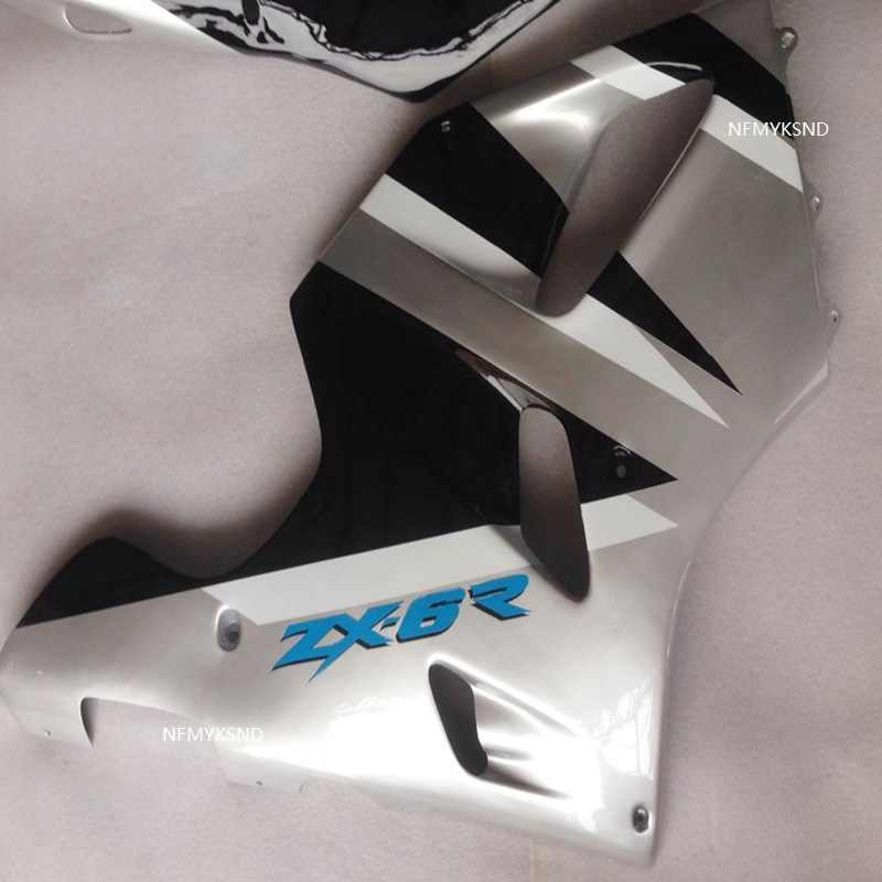 Gloss black Silver Fairing for KAWASAKI Ninja ZX6R 94-97 ZX-6R 1994-1997 body ZX 6R 94 95 96 97 6R 1994 1995 1996 1997