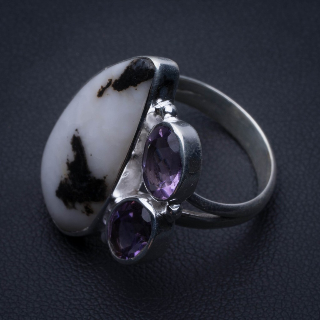 Natural Pinolith Jasper and Amethyst 925 Sterling Silver Ring, US Size 8 R3252Natural Pinolith Jasper and Amethyst 925 Sterling Silver Ring, US Size 8 R3252
