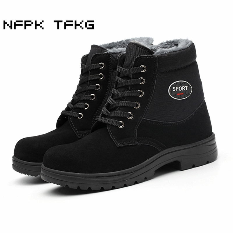 Dos Neve Aço Quente Trabalho Acolchoado Sapatos Biqueira Pelúcia Lazer Preto Botas Grande Homens De Algodão de Fur Segurança Homem Macio Inverno Tamanho Couro q4xC1wIfC