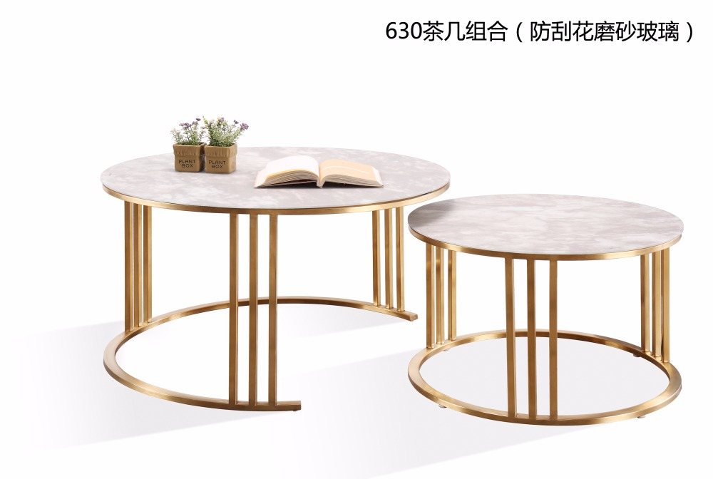 0608CJ630 Granite scratch-resistant frosted glass surface stainless steel frame combination round tea table coffee table stainless steel coffee table frame