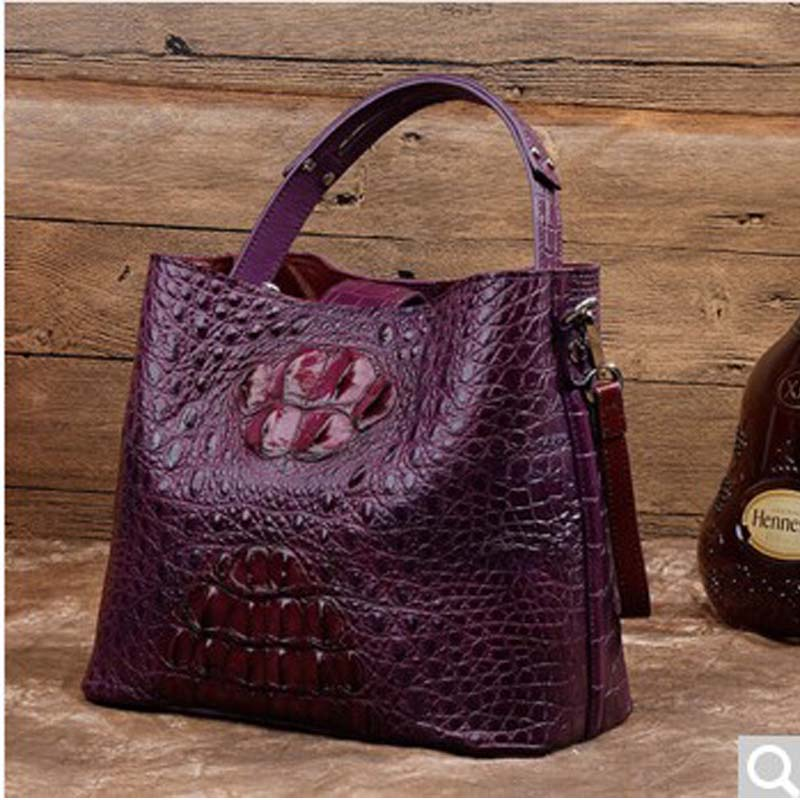 MSHG 2018 new Crocodile skin men handbag Fashion european ladies hand bag red mshg alligator skin new female bag korean version of the trend of hand painted handbags european and american fashion middle age