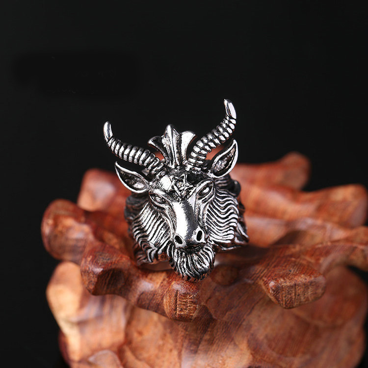 Big Sheep Goat Horn Head Ring For Men Fashion Satan Worship Baphomet Aries Zodiac Wicca Star Unique Biker Punk Animal Jewelry