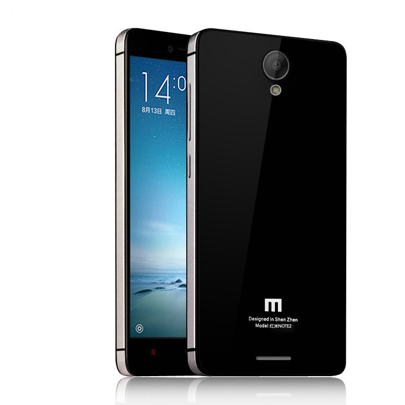 Top For Xiaomi Redmi Note 2 Case Luxury Aluminum Frame Tempered Glass Back Battery Cover Replacement