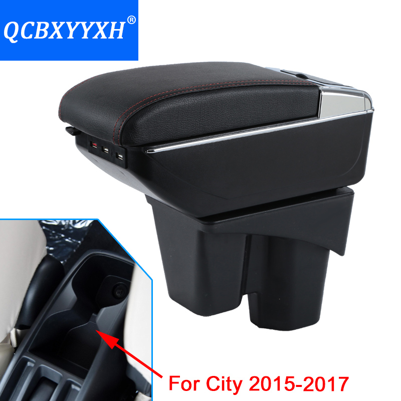 Car-Styling For Honda New City 2015-2017 Armrest Box Central Store Content Storage Box With Cup Holder Ashtray PU Leather Cover universal leather car armrest central store content storage box with cup holder center console armrests free shipping