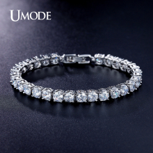 UMODE Luxury Tennis Bracelet Rhodium plated Round Cut AAA Cubic Zirconia  Strand Bracelets For Women Jewelry AUB0021