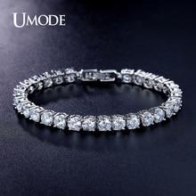 UMODE Brand Luxury Tennis Bracelet Round Cut AAA Cubic Zirconia Bracelets For Women Jewelry White Gold