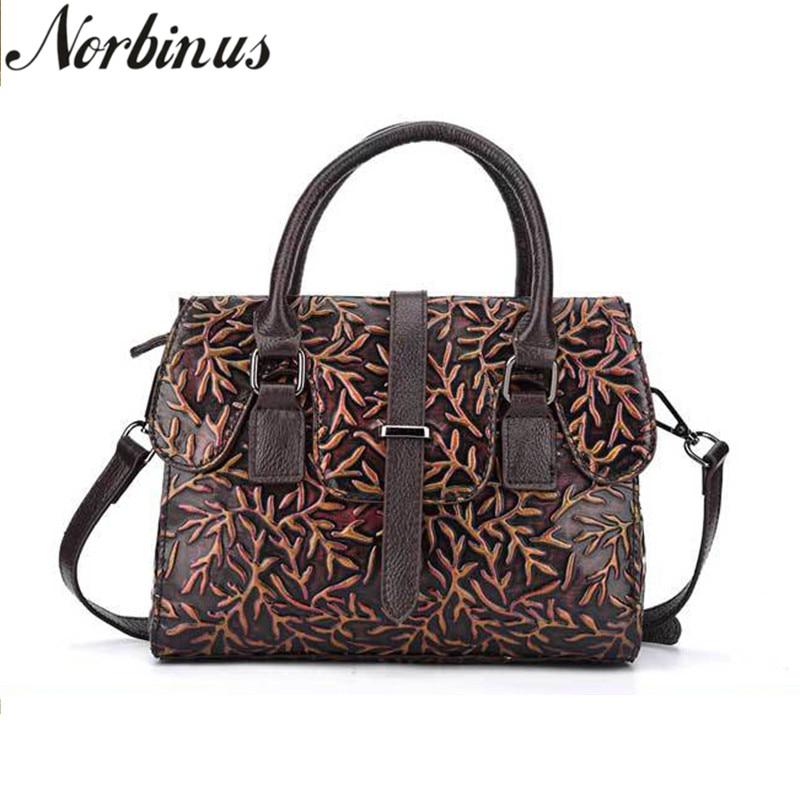все цены на Norbinus Women Messenger Bags Genuine Leather Shoulder Bag Embossed Leather Handbag Luxury Designer Tote Female Crossbody Bags онлайн