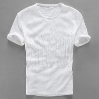 2017 Italy Style Short Sleeve Linen T Shirt Men Summer Casual T Shirt Men Cotton Embroidery