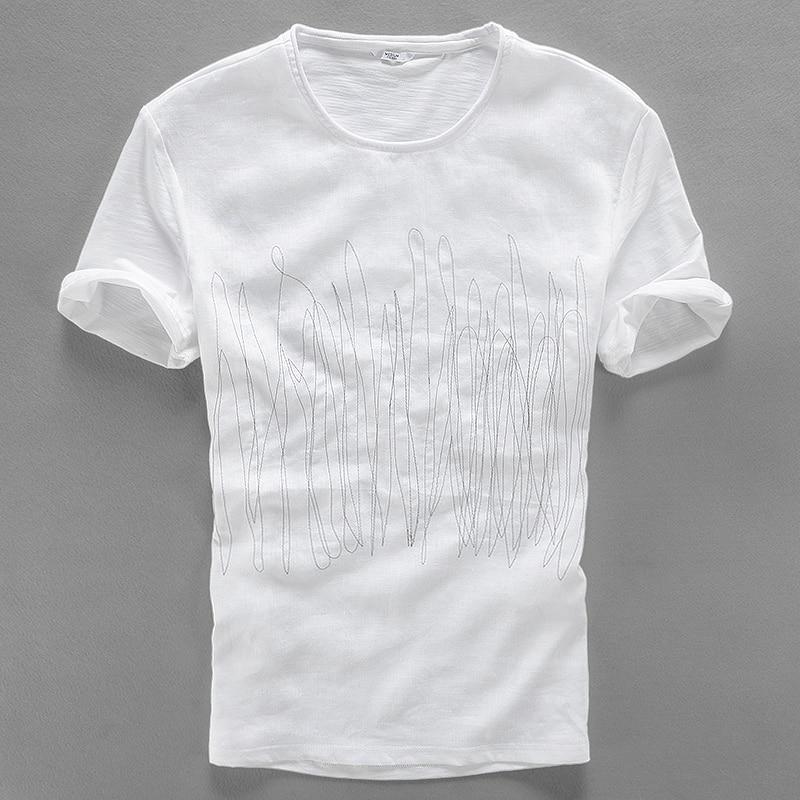 2017 estilo de manga corta camiseta de lino de los hombres de verano - Ropa de hombre