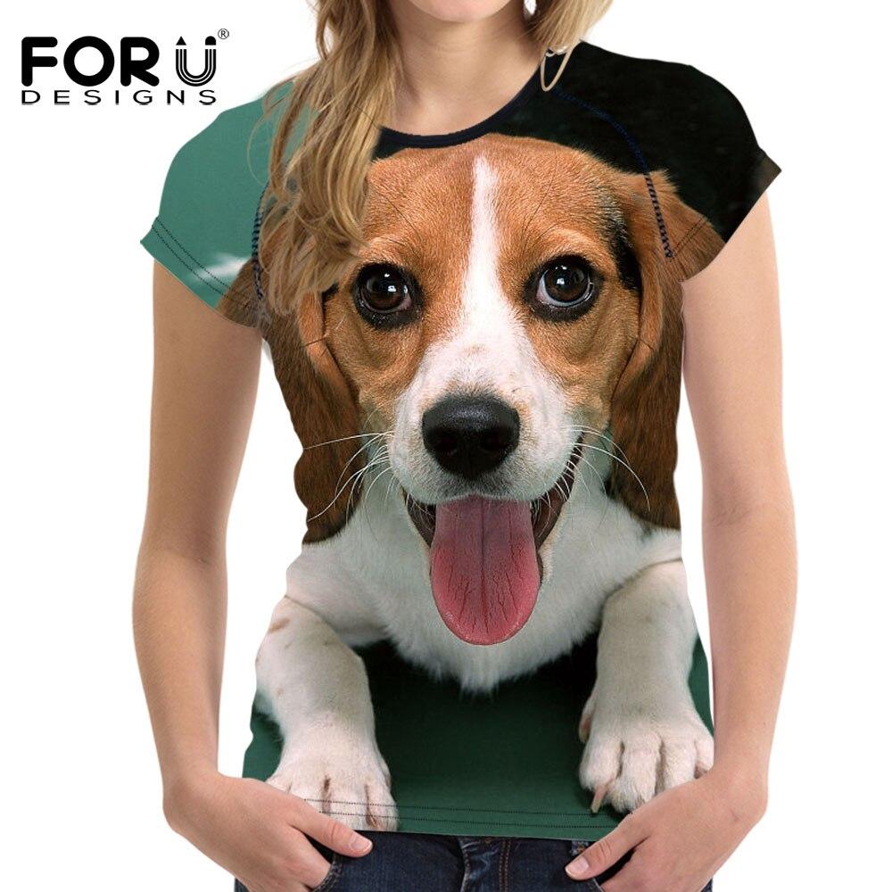 FORUDESIGNS Funny 3D Animal Beagle Dog Print Women Summer T Shirts Harrier Short Sleeve Top Clothes