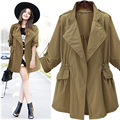 New Women Autumn Winter Casual Basic Trench Top Open Stitch Coat OL Solid Full Sleeve Elegant Loose Stretch Plus Size