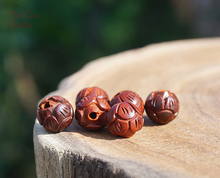 6mm/8/10/12mm Red Sandalwood Wood Wooden Carved Lotus Loose Beads Mala Bead Japa Mala Bracelet Jewellry Findings DIY Accessories