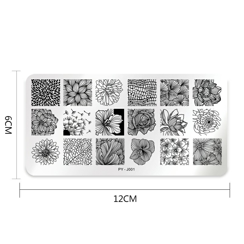 Image 4 - PICT YOU Rose Flower Series Stamping Plates Stainless Steel Nail Image Plate Stamp Template Design Nail Plate-in Nail Art Templates from Beauty & Health