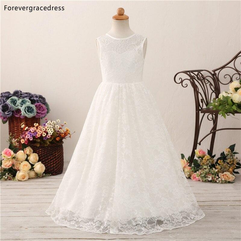 Forevergracedress Lovely Flower Girls Dresses 2019 A Line Jewel Neck Lace Kids Pageant Children Gowns